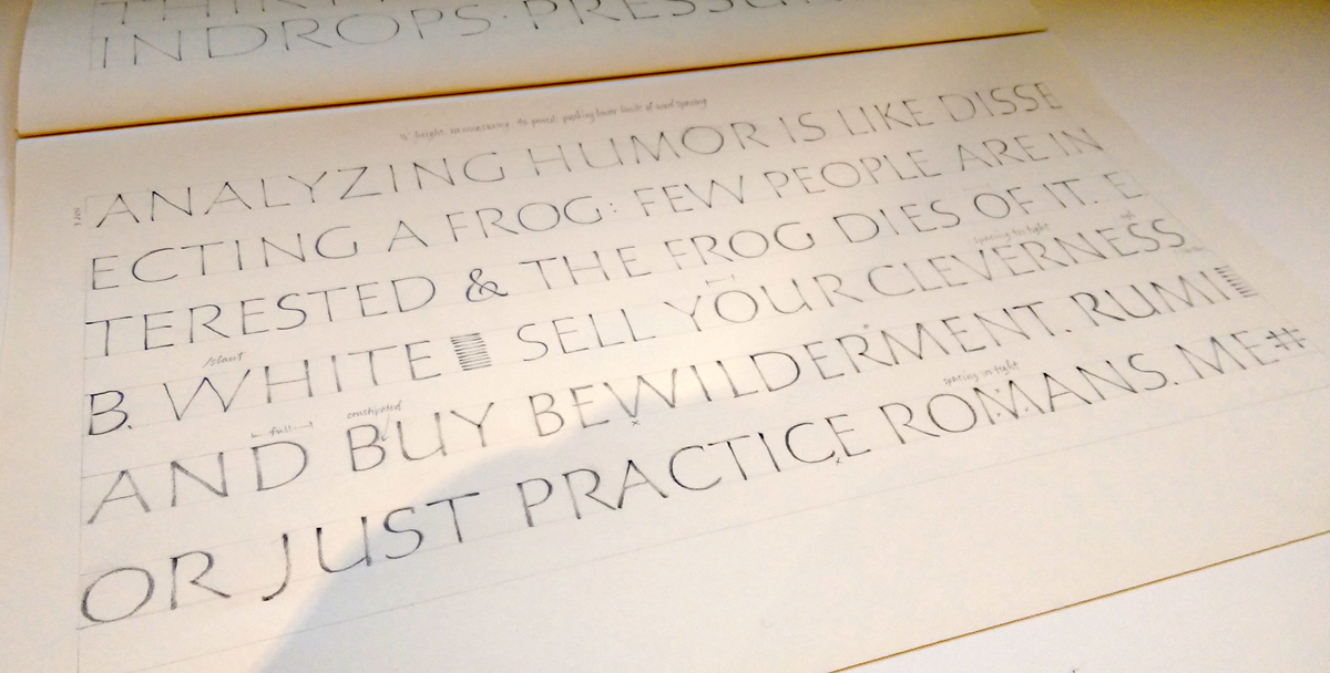 Daily lettering – pencil Roman capitals – Painting Speech