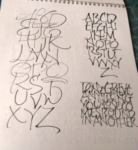 And more, but with a block of stacked letters as well. Trying to keep the gesture.