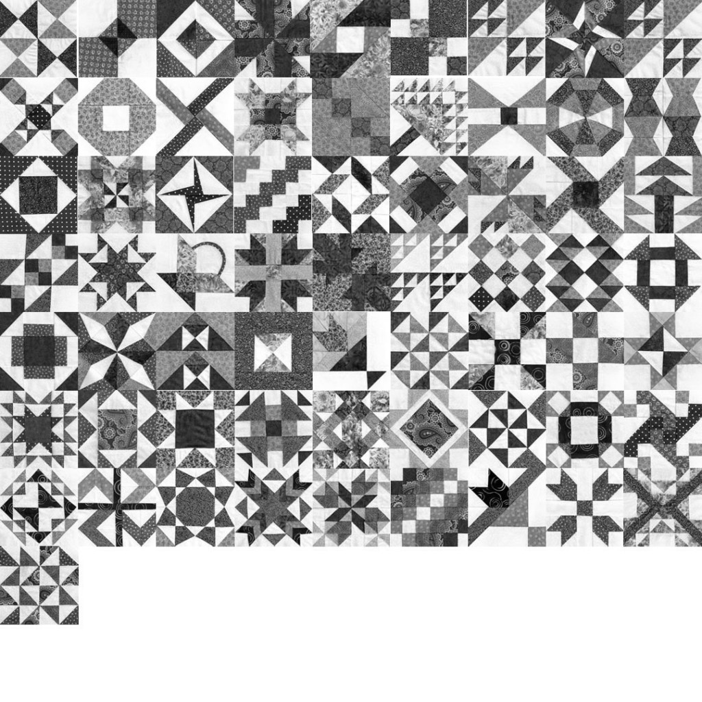 Farmer's Wife quilt so far -- in black and white to check value distribution