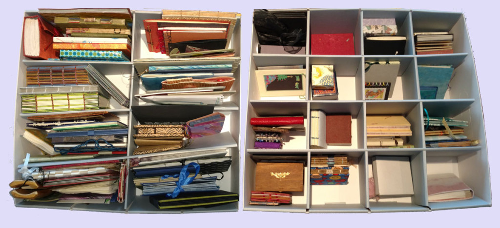 Two boxes of small artist books made by me or by those I've exchanged with.