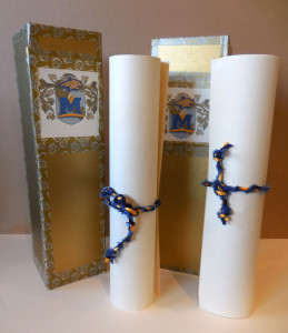 MSU madrigal dinner invitation scrolls and boxes