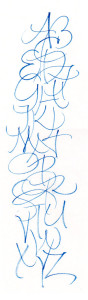 """Alphabet on that inexpensive """"rice""""paper you can get in packets. Drying-up Pentel color brush."""