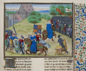 "Jehan Froissart, Chroniques - caption: 'The Peasants' Revolt in England in 1381. The scene of conflict and the death of Wat Tyler, leader of the peasants by the sword.' ID: c13647-28 Title: Jehan Froissart, Chroniques Author: ""Froissart, Jehan (Jehan Froissart)"" Provenance: Netherlands Caption: The Peasants' Revolt in England in 1381. The scene of conflict and the death of Wat Tyler, leader of the peasants by the sword. Notes: Jehan Froissart, Chroniques Netherlands, S.; Last quarter of the 15th century, before 1483"