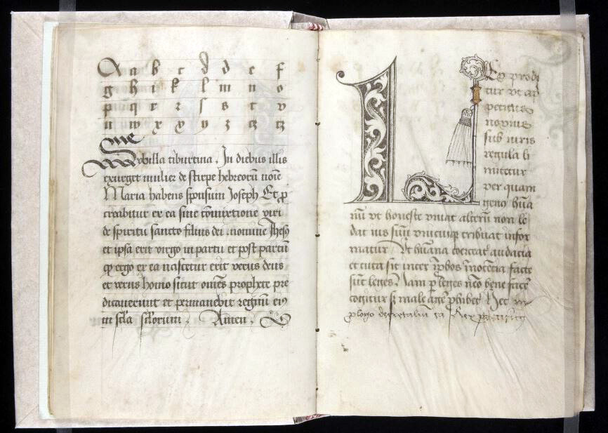 A medieval scribal pattern book by Gregorius Bock, ca. 1510-1517 from Swabia, Germany.