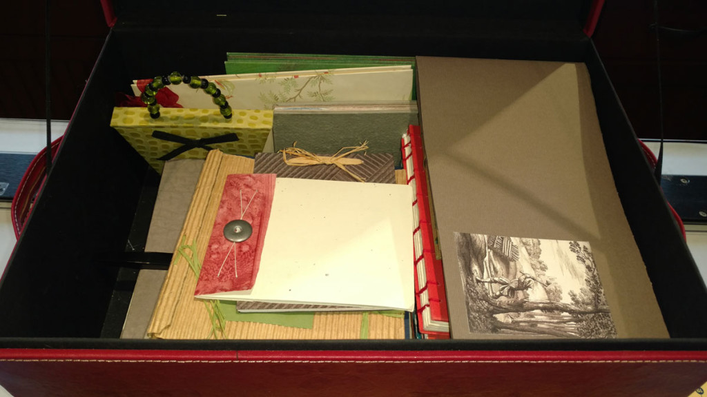 A box of larger artist books made by me or by those I've exchanged with.