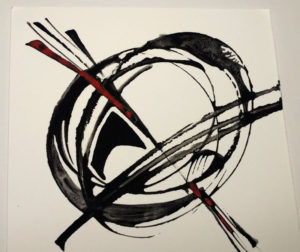 I think this was from 2010 as part of a series of logo marks. Further details are lost in the mists of time, but I seem recall something about mixing Jet Black gouache and sumi ink. Still, I like the liveliness of the lines.
