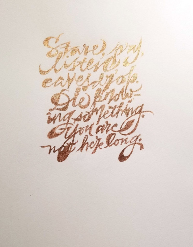 Mike Gold workshop: : handwriting + weight in metallic bronze